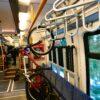 portabicis curvado en tren alemán